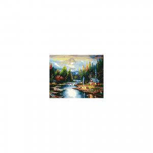 Холст с красками по номерам Дом на берегу реки 40х50 см Издательство Рыжий кот
