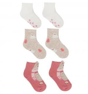 Комплект носки 3 шт., цвет: розовый/белый/бежевый Bossa Nova