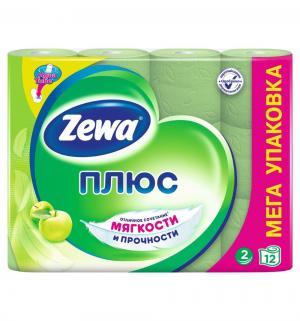 Туалетная бумага 2-х слойная яблоко  Plus, 12 шт Zewa