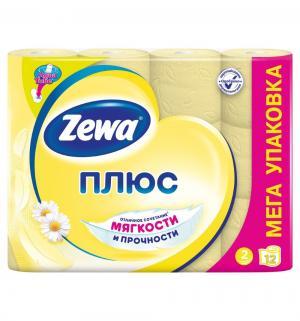 Туалетная бумага 2-х слойная ромашка  Plus, 12 шт Zewa