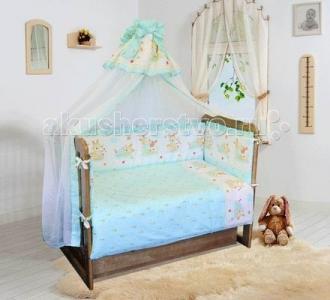 Комплект в кроватку  Зайчик-садовод на медиуме (7 предметов) Soni Kids