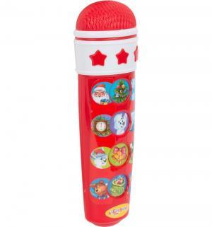 Микрофон  Караоке новогоднее красный 15 см Азбукварик