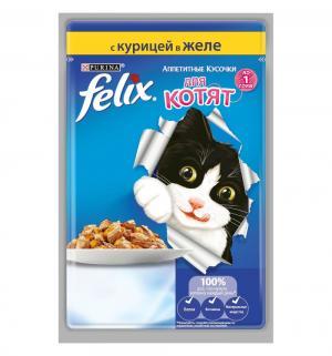 Влажный корм  Аппетитные кусочки для взрослых кошек, курица, 85г Felix