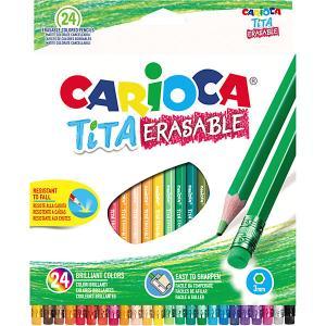 Набор цветных карандашей  Tita Erasable шестигранные, 24 цвета Carioca. Цвет: белый