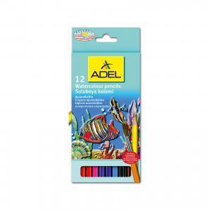Карандаши цветные акварельные Aquacolor, 12 цветов + кисточка. ADEL
