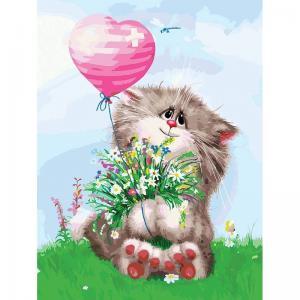 Живопись на подрамнике  Кот с букетом Белоснежка