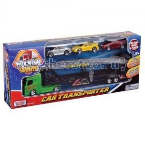 Набор с грузовиком для перевозки автомобилей, рампой и 3 машинками MotorMax