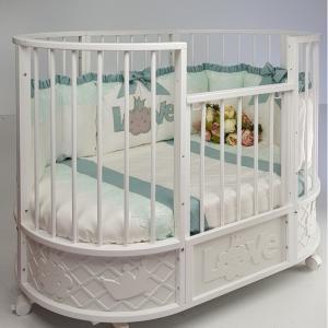 Кроватка-трансформер  овальная EVA декор Принц маятник поперечный Островок уюта