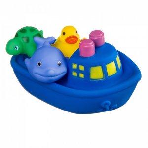 Набор игрушек для купания Корабль Дельфин Утенок Черепаха Bondibon