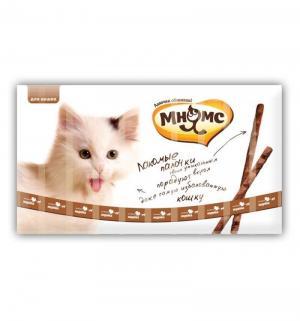 Лакомые палочки 13,5 см для кошек с говядиной и печенью 10х5 г Мнямс