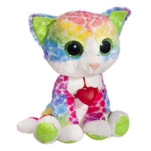 Мягкая игрушка  Глазастик Котик 23 см цвет: зеленый/голубой/желтый Fancy