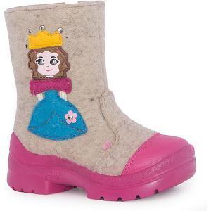 Валенки Принцесса для девочки Филипок. Цвет: бежевый