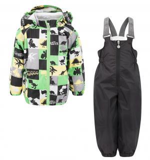 Комплект куртка/полукомбинезон  Динозаврики, цвет: серый/зеленый Reike
