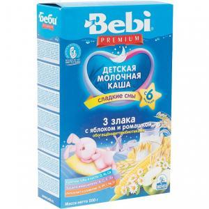 Каша  молочная 3 злака с яблоком и ромашкой 6 месяцев 200 г Bebi