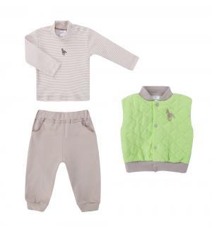 Комплект водолазка/жилет/брюки  Волшебная зима, цвет: серый/салатовый Мамуляндия