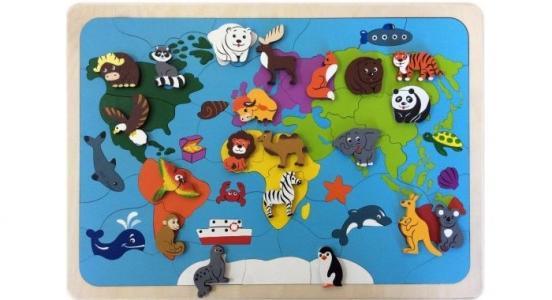 Деревянная игрушка  Мозаика-вкладыш Карта мира (82 детали) Крона