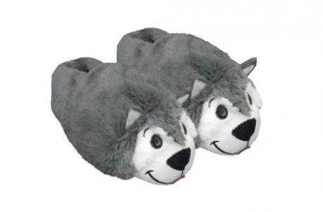 Тапочки Вывернушки  Хаски-Полярный медведь, цвет: серый/белый 1Toy
