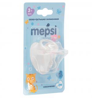 Соска-пустышка  Классическая силикон, с 3 мес, цвет: розовый Mepsi