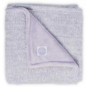Вязаный плед с мехом Jollein Melange knit soft lilac, 75x100 см. Цвет: фиолетовый