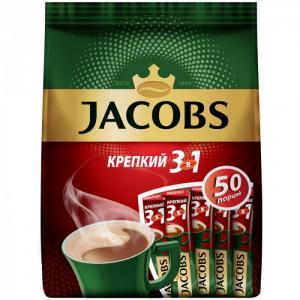 Кофе растворимый Крепкий 3 в 1 порошкообразный 50 шт. Jacobs