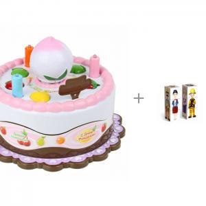 Интерактивная игрушка  развивающая Торт и деревянная Стеллар Кубики Профессии 6 шт. Veld CO