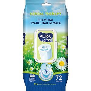 Влажная бумага туалетная AURA с ромашкой, 72 шт Cotton Club