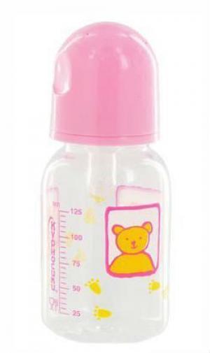 Бутылочка  С крышкой полипропилен, 125 мл, цвет: розовый Курносики