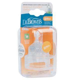 Набор сосок Dr.Browns с широким основанием силикон, 6-12 мес Dr.Brown's