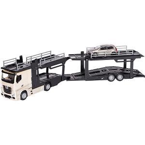 Игровой набор  Street fire Mercedes-benz actors multicar carrier, 1:43 белый Bburago. Цвет: белый