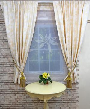 Набор из 2-х штор и тюля-экрана для кухни Голди Византия