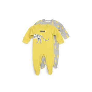 Комплект комбинезон 2 шт  Дикий кот, цвет: желтый/серый Happy Baby