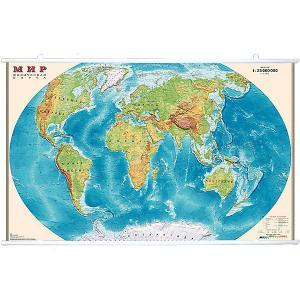 Карта Мира, Физическая, 1:25М на рейках Издательство Ди Эм Би