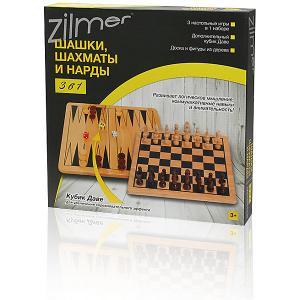 Набор настольных игр 3 в 1 Шахматы, шашки, нарды  , 29х29х1,2 см, дерево Zilmer. Цвет: разноцветный