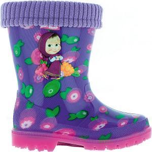 Резиновые сапоги со съемным носком  Маша и Медведь Kakadu. Цвет: лиловый