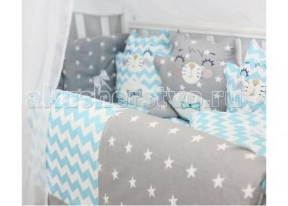 Комплект в кроватку  Спящие игрушки Котики (12 предметов) ByTwinz