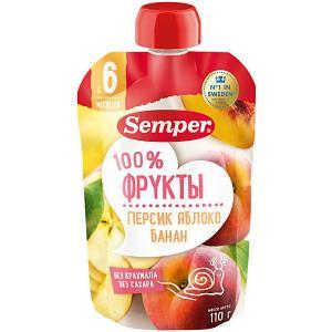 Пюре  персик, яблоко, банан, с 6 мес, 12 шт Semper