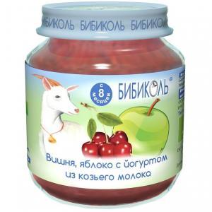 Пюре  вишня/яблоко и йогурт из козьего молока с 8 месяцев, 125 г Бибиколь