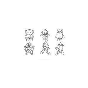 Набор мини-витражей  Роботы, 6 шт Amos