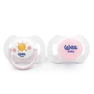 Набор ортодонтических сосок-пустышек Weebaby День-Ночь, 2 шт. в контейнере с рождения, Розовый