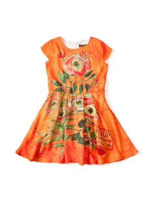 Платье  Цветы, цвет: оранжевый I Love To Dream