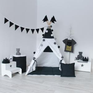 Вигвам Black&White с окном и карманом VamVigvam