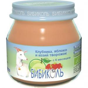 Пюре  клубника-яблоко и козий творожок с 6 месяцев, 80 г Бибиколь
