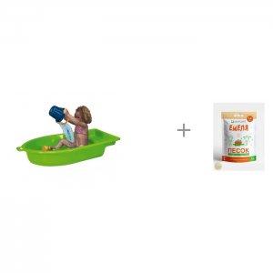 Песочница Лодка одинарная и Песок для песочниц Mixplant Емеля 14 кг Paradiso