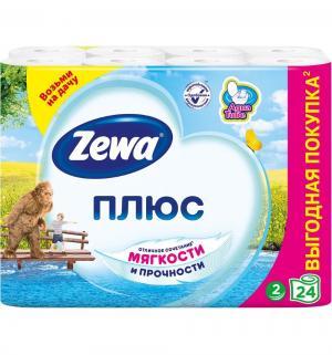 Туалетная бумага 2-х слойная белая  Plus, 24 шт Zewa