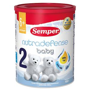 Молочная смесь  nutradefense baby 2, с 6 мес, 400 г Semper