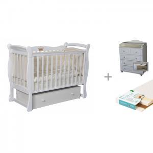 Детская кроватка  Viola 1 с пеленальным комодом Victoria 805 МДФ и матрасом Плитекс EcoDream Кедр
