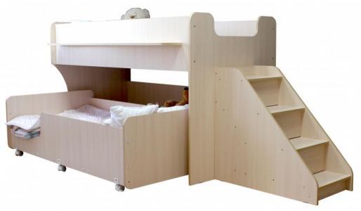 Подростковая кровать Капризун 7 двухъярусная с лестницей и ящиками Можга (Красная Звезда)