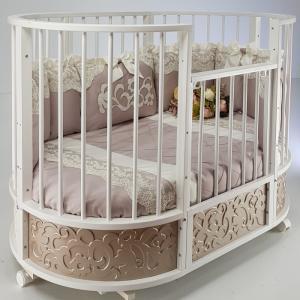 Кроватка-трансформер  овальная EVA декор Арабески маятник поперечный Островок уюта