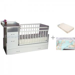 Кроватка-трансформер  Чунга-Чанга с матрасом Афалина ЭКО и комплектом AmaroBaby Жирафики Островок уюта