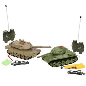 Радиоуправляемый танк  Танковый бой 1:32 Т34 - Abrams M1A2 Пламенный мотор